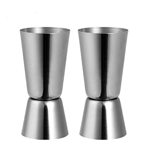 XCOZU Jigger Spirit Measure, Doseur à Cocktail, Alcool Tasse à mesurer, Acier Inoxydable 25/50 ML Vin Cocktail mesureur pour Bar Party Boisson