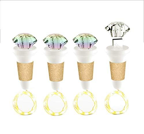 Luces para botella, luz LED de corcho de vino recargable por USB con cabeza en forma de diamante, 7 colores cambiantes de iluminación LED, color blanco, 4 paquetes