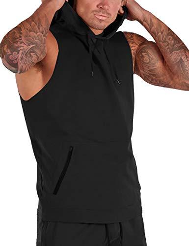 iWoo Męska siłownia bluza z kapturem bez rękawów podkoszulki fitness sportowa kamizelka trening muskulatura koszulka kanga kieszeń siłownia trening