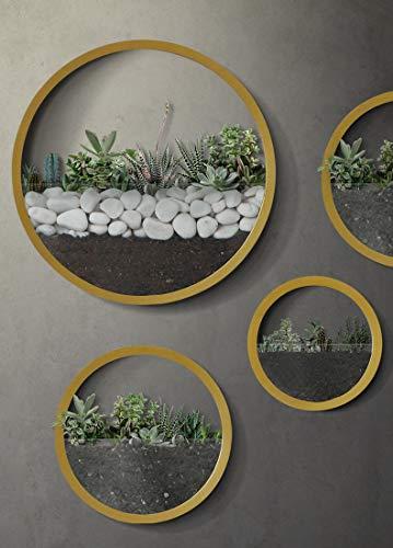KnikGlass 4 Stück Set Blumenvase Wand Pflanzgefäße Metall Pflanzentopf übertöpfe Wanddeko für Zimmerpflanzen Sukkulenten (Gold)
