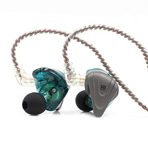 Linsoul KZ ZSX 5BA+1DD 6 Treiber Hybrid In-Ear HiFi-Kopfhörer mit zinklegierter Frontplatte und 0,75 mm, 2-Pin abnehmbarem Kabel für Audiophile Musiker (Mit Mic, Cyan)
