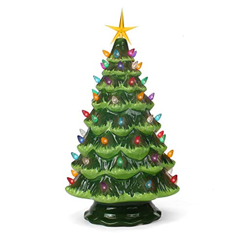 Ceramic Christmas Tree - Tabletop Christmas Tree with Lights - (15.5' Large Green Christmas Tree/Multicolored Lights) - Lighted Vintage Ceramic Tree