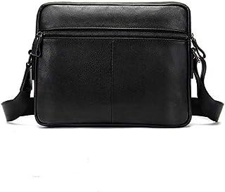 FYXKGLan Men's Layer Cowhide Shoulder Messenger Bag Business Leisure Cross Section Men's Bag (Color : Black)
