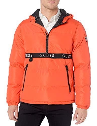 GUESS Men's Wind & Water Resistant Hooded Pullover Puffer Jacket, Orange, Medium