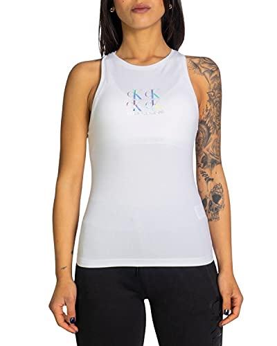 Calvin Klein Jeans Shine Logo Racer Back Top Cuello extendido, Blanco Brillante, M para Mujer