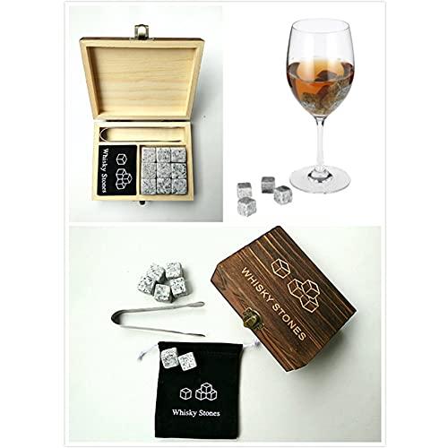 Juego de 9 Piezas con Pinza Hielo Cebrapiedra de Whisky Granito Piedras Frías Vaso de Whisky Set de Regalo Caja de Madera el Regalo Perfecto para Beber para Hombres y Padres
