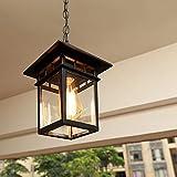 Mengjay Vintage Lampadari Per Esterni/Interni E27 Nero Impermeabile IP23 Pendant Light Paralume In...
