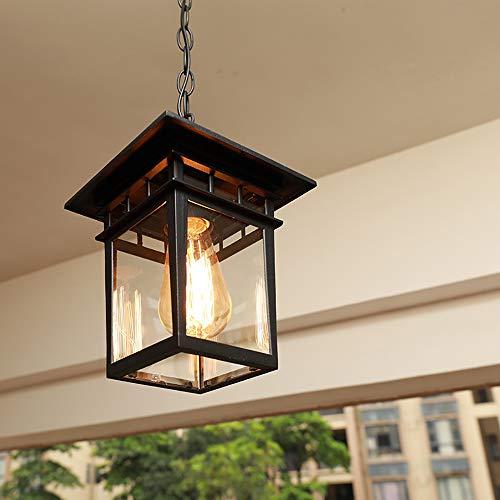 Mengjay Vintage Lampadari Per Esterni/Interni E27 Nero Impermeabile IP23 Pendant Light Paralume In metallo In Vetro Corridoio Balcone Gazebo Illuminazione