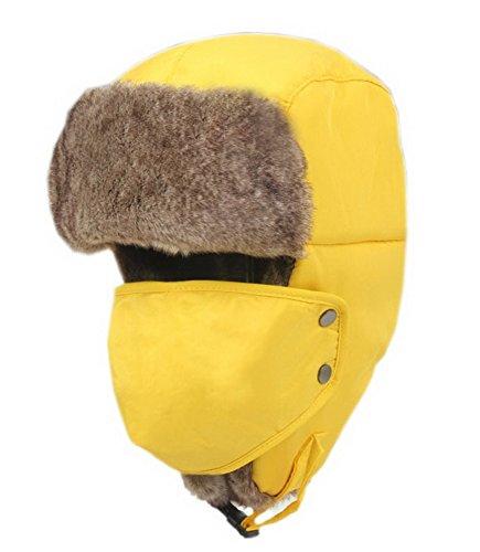 Ski étanche extérieur épais chapeau jaune pour adulte avec masque