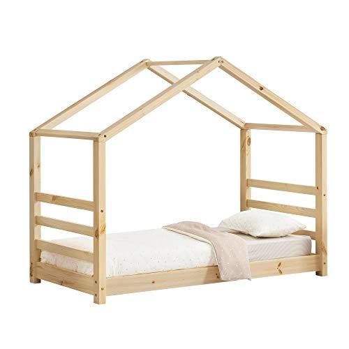 [en.casa] Kinderbed houten bed huisbed met bedbodem 70x140 hout