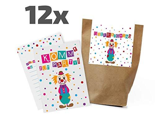 Ideenverlag 12x Clown Einladungskarten + Partytüten - Set zum Kindergeburtstag / Karneval / Fasching / Partytüten / Mitgebseltüten / Geschenktüten / Mitgebsel / Einladungen / Set