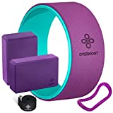 <span class='highlight'><span class='highlight'>Overmont</span></span> 5-in-1 Set, 1 Yoga Wheel for Back Pain- 13x 5, 2 EVA Foam Yoga Blocks with Strap, 1 Extend Ring Premium Back Roller for Dharma Yoga Pose Backbend Stretching Pilates Meditation