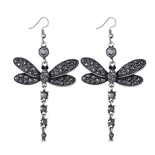 YAZILIND Vintage rhinestone libélula colgante de la gota étnica cuelgan pendientes de las mujeres joyas de regalo (negro)