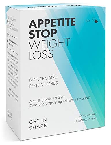 APPETITE STOP Glucomannan Coupe faim (60 pcs) – Perte de poids rapide et efficace avec les complement alimentaire minceur de Get In Shape