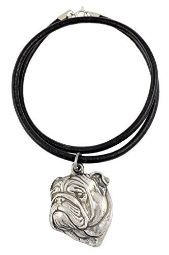 Englische Bulldogge , Silber beschichtet Halskette, Limitierte Edition, Art Dog