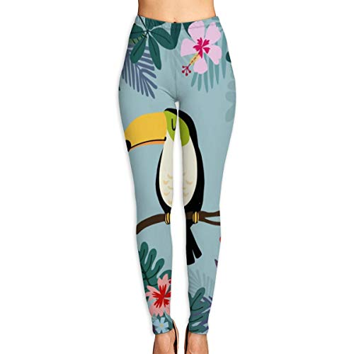 Yoga pants womens,Toucan Bird With Palm And Monstera Leaves, Hibiscus And Plumeria Flowers High Waist Workout Pants M