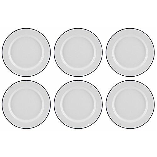 Set von 6Traditionelle Falcon Emaille weiß Speiseteller Braten Backen, 22 cm