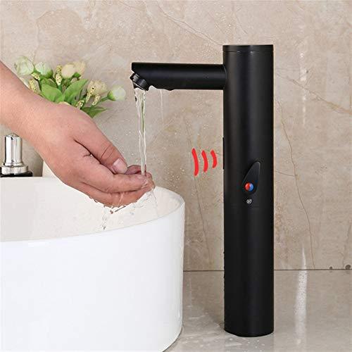 Grifos Mezclador de agua caliente de latón macizo fría al tacto libre de infrarrojos Grifo automático del sensor de baño Cuenca Grifos para baño (Color : Matte Black 03)