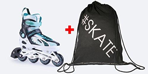 SPOKEY TORQUE Inline Skates Größenverstellbar   Kinder   Damen   Inline Blades   ABEC5 Karbon   Größen 33-43, Farben:White - Turquise;Größe/Size:33-36
