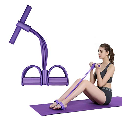 ORHOMELIFE Pedal Resistance Band - Elastic Pull Rope Sit-up Bodybuilding with Travel Bag, 4-Tubes Natural Latex Multi-Function Tension Rope for Abdomen, Waist, Arm, Leg, Yoga Slimming Training