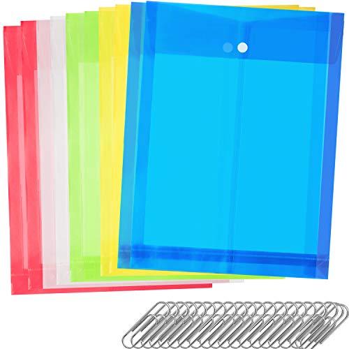 ファイルバッグ ボタン式 クリアーホルダー 大容量 A4 クリアファイル ドキュメントケース クリアホルダー 10枚 5色セット マチ付き 封筒 保存用 縦型 (カラフル)