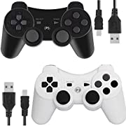 PS3 Controllers for Playstation 3 Dualshock Six-axis, Wireless Bluetooth Remote Gaming Gamepad Joystick Includes USB Cable (Black and White,Pack of 2)