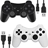 Wireless Controllers for PS3 Playstation 3 Dual Shock (Pack of 2,Black and White)