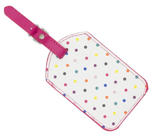 Trendz Fashionable Travel Address and Luggage Identity Tag with Metal Buckle - Polka Dot