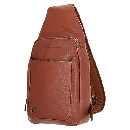 Piquadro Black Square Sling Bag Ledertasche, Schwarz