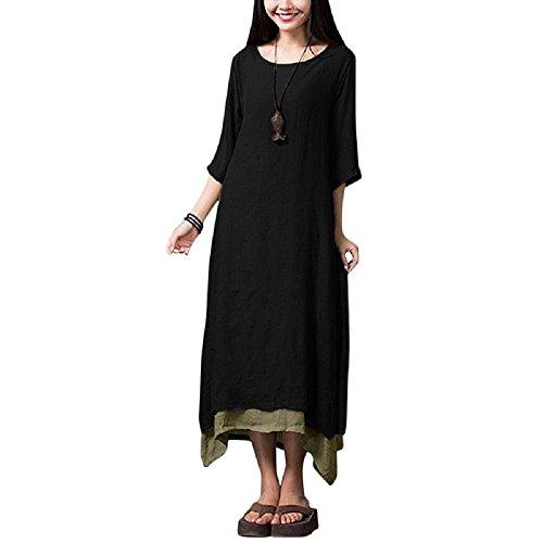 Romacci Women Vintage Dress Split Irregular Hem Casual Loose Boho Long Maxi Dresses Orange/Army Green/Coffee/Burgundy/Black