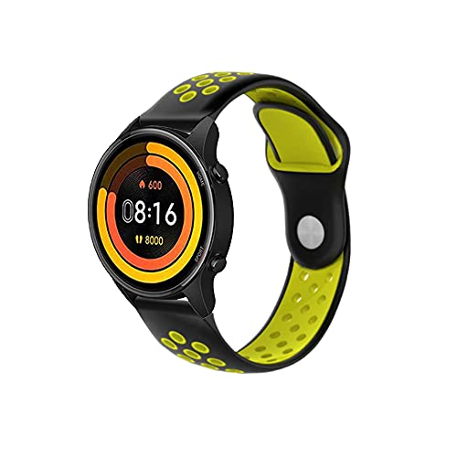 PaceBid Correa Compatible con Xiaomi Mi Watch, Impermeable Ajustable Silicona Reloj de Recambio Brazalete Correas,Suave, Transpirable, Resistente Banda para Xiaomi Mi Watch- (Black-Yellow)