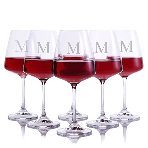 Personalized Crystal Cindy Red Wine Glasses With Titanium - Set of 6 Glasses Engraved & Monogrammed by Crystalize - Perfect for Christmas and the Holidays