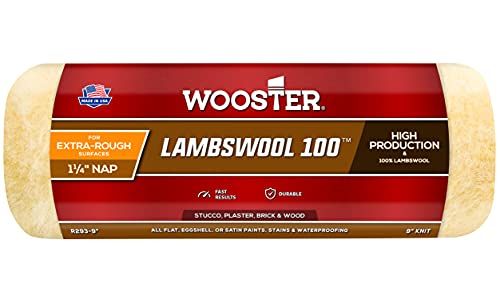 Wooster Brush R293-9 Lambswool 100 Roller Cover, 1-1/4-Inch Nap, 9-Inch