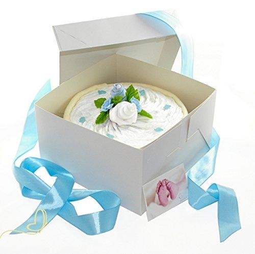 dubistda© Windeltorte CAKEBOX für Jungen blau | Geschenk für Jungs zur Geburt Babyparty Babyshower (blau)
