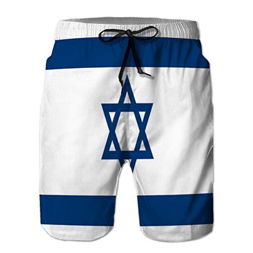 Yuerb Men's Board Short Quick Dry Swim Trunks Beach Short Israeli Flag