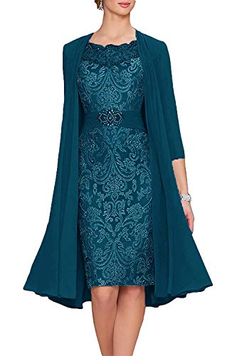 Mother of The Bride Dresses with Jacket Lace Formal Evening Dress Short Mother Dress for Wedding Teal US18W