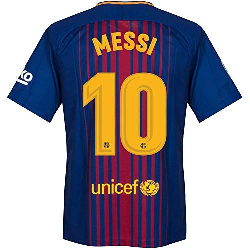 Barcelona Home Messi Jersey 2017/2018 (Official Printing) (XX-Large) Red/Blue