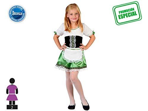LEMON TREE SL Disfraz de 2 Piezas para Carnaval Infantil niña Alemana.Incluye 1 Bata y 1 Delantal Color Verde, Negro y Blanco. Talla 5/6 años niña. Cosplay niña Carnaval.