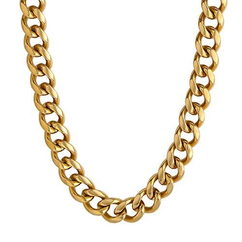 KRKC&CO 12mm Panzerkette 18K Gold beschichtet Cuban Link Chain Edelstahl Goldkette Panzerkette Herren Gold Kubanische Gliederkette für Herren Hip Hop Halskette für Männer Jungen Größe 55,9cm