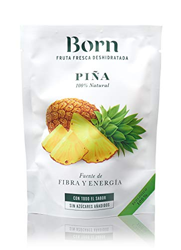 Born Piña - Fruta Deshidratada Ecológica - Vegetariano, Vegano, Paleo, sin Gluten, sin Lactosa, sin Azúcar Refinado - Doy Pack 40 G