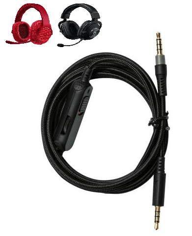 Cable auxiliar de audio extraíble con silencio en línea y controles de volumen para auriculares Logitech con cable G433 G233 G Pro X Gaming