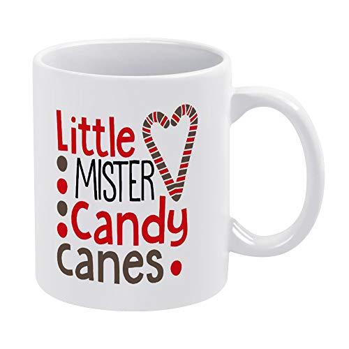 Little Mister Candy Canes - Taza de café de cerámica para bebés y niños, diseño de bastones de caramelo, color blanco, 315 ml, regalo de cumpleaños de Navidad para hombres y mujeres