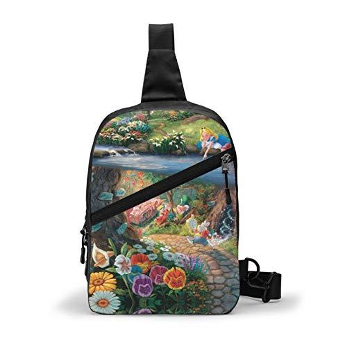Alicia en el país de las maravillas bolso de pecho Slung gran capacidad multifuncional mochila hombres y mujeres moda de un solo hombro mochila viaje trekking tetro