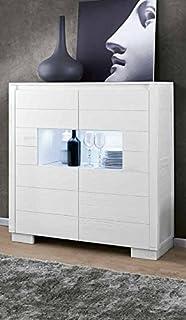 Legno&Design aparador Buffet aparador 2Puertas con Cristal Madera Maciza diseño Moderno