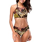 T-he Pr-om-ise-d Ne-ve-rlan-d R-ay Conjunto de bikini halter para mujer sexy traje de baño de secado rápido 2 piezas acolchado ropa de playa