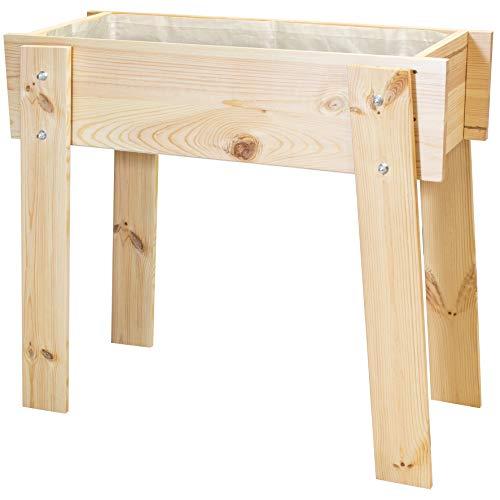 WAGNER GreenFAMILY - Mobiles Hochbeet GreenBOX Design - Nadelholz, Massivholz FSC®, Natur, 82 x 74 x 36 cm; inkl. Pflanztasche - 25033001
