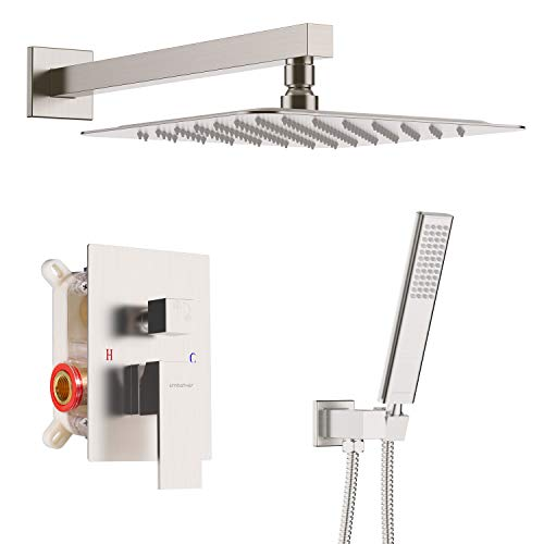 """EMBATHER Shower System -Brushed Nickel Shower Faucet Sets with 10"""" Rain Shower Head For Bathroom, Wall Mount Square Shower Combo Set With Adjustable Handheld Bracket(Contain Shower Valve and Trim …"""