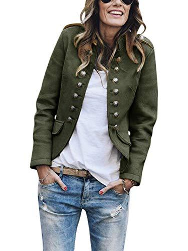 Tomwell Blazer Damen Lang Cardigan Tailliert Elegant Casual Jacke Blazer Slim Fit Anzug Trenchcoat Armeegrün 42