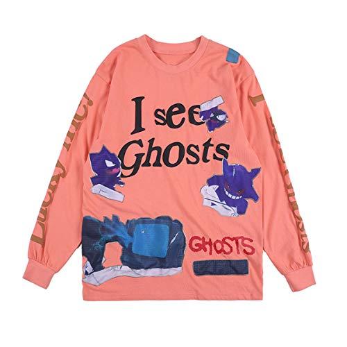 Arnodefrance I See Ghosts Lucky Me Tshirt Hip Hop Rapper Tee Shirt Cotton Long Sleeve Shirt Orange