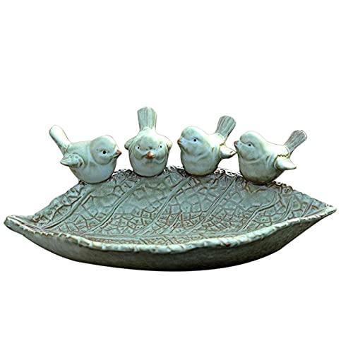 Meyeng - Bebedero para pájaros redondo con dos pájaros decorativos de cerámica – Bebedero para pájaros – Bebedero para pájaros – Bebedero para jardín balcón – Accesorios para pájaros